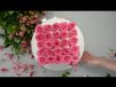 Торт в виде букета в коробке с розовыми розами с рисунком Парижа И торт с рисунком девушки в красном платье с тремя красными