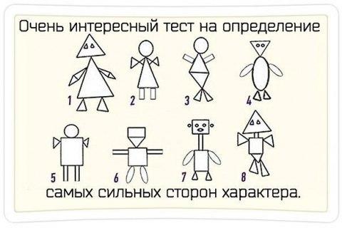 Тест на определение сильных сторон своего характера.  Очень интересный тест на определение самых сильных сторон своего характера. Перед Вами 8 типов рисунка человека, составленных из простых геометрических фигур: треугольника, круга и квадрата. Выбирайте рисунок, с которым вы себя больше всего ассоциируете и смотрите ответ о своих сильных сторонах и о своем типе личности.  Смотреть Результаты...