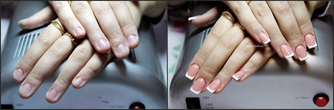 Квадратные ногти френч с дизайном