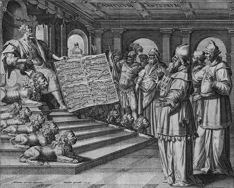Гравюра «Царь Соломон на троне. Песнь песней». Мартин де Вос, 1590 год.