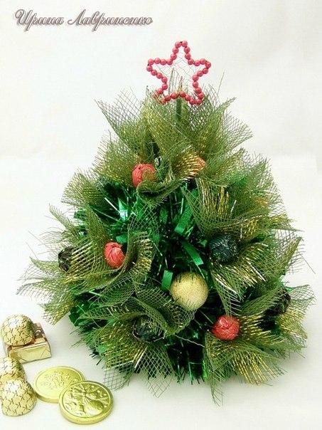 Фото мастер-класс по изготовлению очаровательной новогодней елочки с конфетами…. (8 фото) - картинка