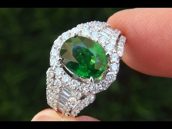 GIA Certified UNHEATED Natural Tsavorite Garnet Diamond Ring 18K White Gold - A141473