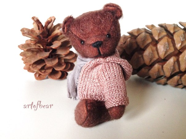 Мини мишка Эмиль, очаровательный мальчик. Одет в вязанную толстовку с капюшоном, толстовочка снимает… (4 фото) - картинка