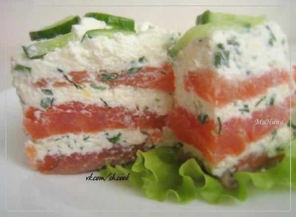Салат с соленой красной рыбой рецепт