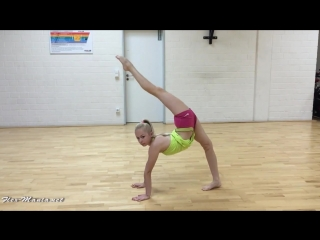 Young gymnast in hot stretching