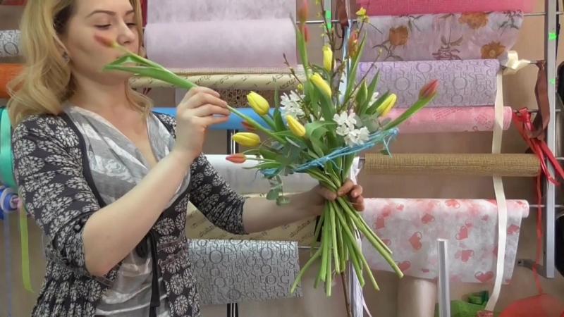 Флористика Букет цветов Собираем весенний букет на каркасе Floristics Bouquet of flowers