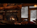 RELAXING ATMOSPHERE - Cozy Log Cabin, Snow with Fireplace Crackling Fire Sounds