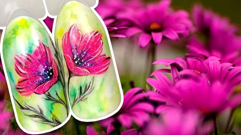 🌸 Нежный Цветок с Блестящими гель лаками 🌸 Простой Дизайн ногтей гель лаком к Летнему Маникюру