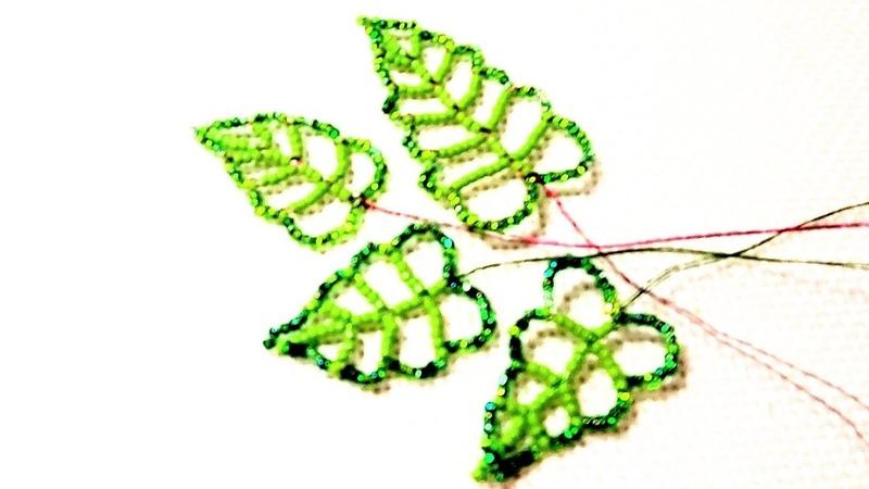Ажурный листочек большой из бисера Авторский МК от Виктории Бисерные цветы