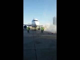 Двигатель самолета Эйр Астаны загорелся в аэропорту Нурсултан Назарбаев