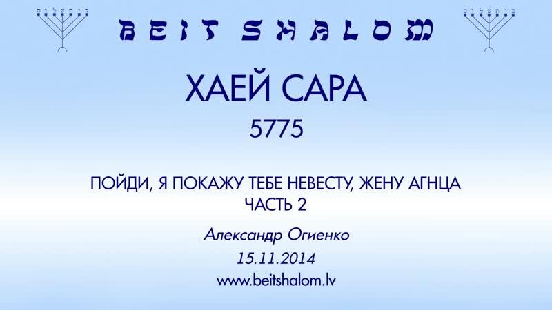 «ХАЕЙ САРА» 5775 ч 2 «ПОЙДИ, Я ПОКАЖУ ТЕБЕ НЕВЕСТУ, ЖЕНУ АГНЦА» А.Огиенко (15.11.2014)