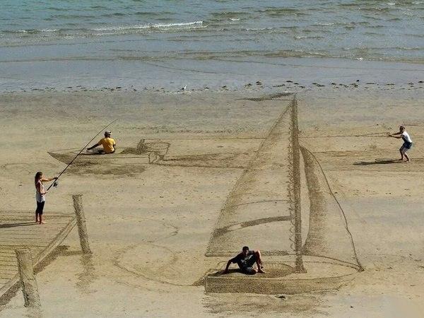3D рисунок на песке, приколы фото, лучшие приколы интернета