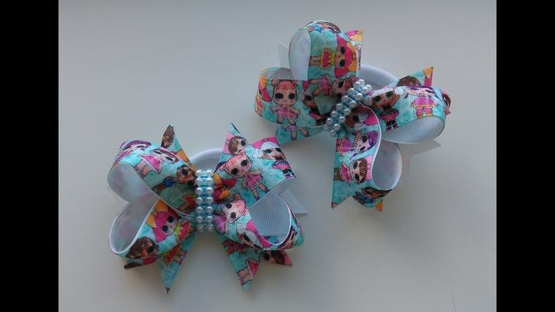 Бантики с куклами LOL из репсовых лент МК Канзаши / Bows with dolls LOL and the ribbon