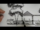 Sketching ink and pen landscape architectur time lapse