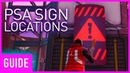 Fortnite Search PSA Signs At Neo Tilted, Pressure Plant, and Mega Mall Season 9 Week 10