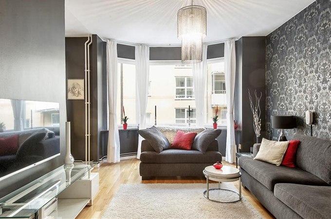 Черные стены в интерьере квартиры 43 м в Стокгольме / Швеция - http://kvartirastudio.