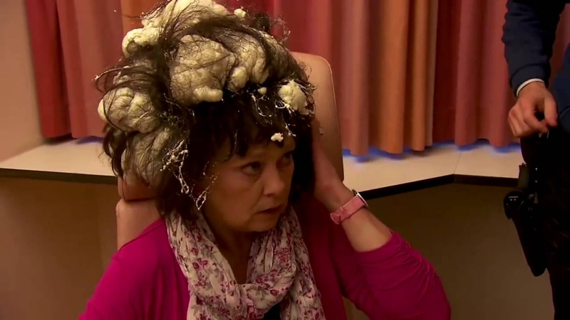 Bad Hair Day Woman Mistakes Builder Foam For Hair Mousse