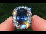 GIA Certified UNHEATED VVS Natural Blue Sapphire Diamond PLATINUM Engagement Ring - C362