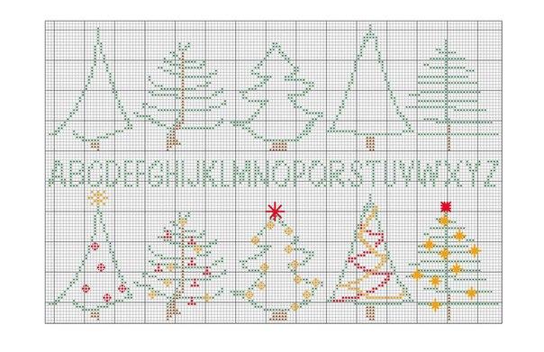 Вышивка крестом новогодние миниатюры схемы однотонные 5