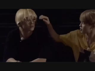 jimin brushing tae's hair and looking at him fondly is soulmate culture