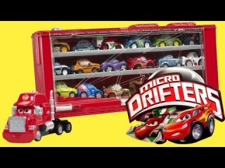 Cars 2 Mack Truck Transporter Rolling Display Case Micro Drifters 18-cars Launcher Disney mini toys