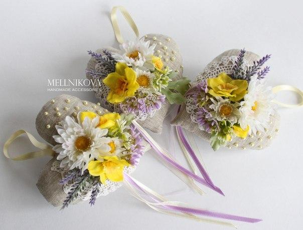 Декоративная льняная подвеска-саше Весенние цветы… (4 фото) - картинка