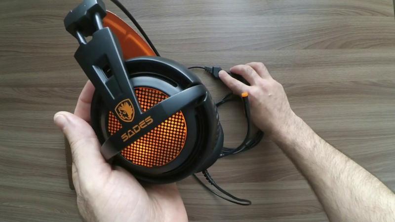 Наушники с микрофоном Sades А6 Игровые наушники 7.1 с али экспркесс