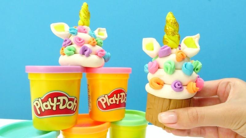 Play-Doh oyun hamuru ile Unicorn dondurma. Eğitici video
