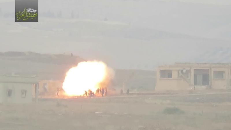 16.06.18 - Боевики группировки Джейш аль-Азза атаковали из ПТРК TOW скопление бойцов правительственных сил на открытом месте в деревне Аль-Масасина