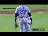Right-handed pitcher Scott Oberg made an impressive defensive play.