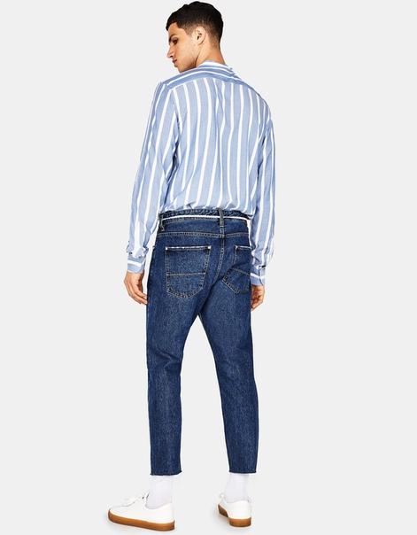 Укороченные джинсы облегающего кроя со шнуром на талии
