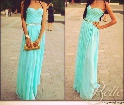 Платья в пол цвета мяты