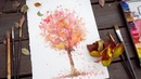 Paint a tree using autumn leaves painting technique for beginners