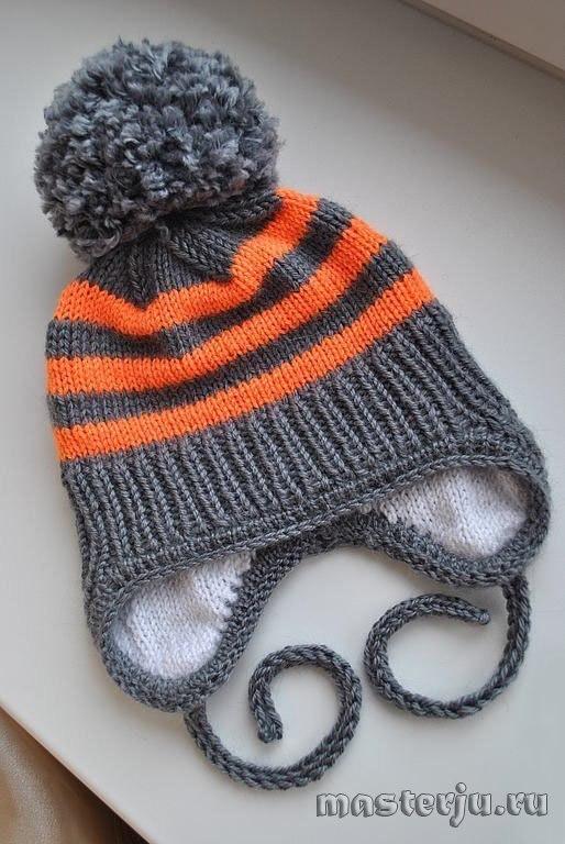 детская зимняя шапочка c вязаным подкладом