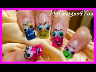 APRIL FOOLS DAY FRENCH NAIL ART TUTORIAL - FUN SMILEY FACES