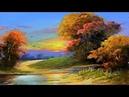 Gouache Sunset Landscape Painting By Yasser Fayad