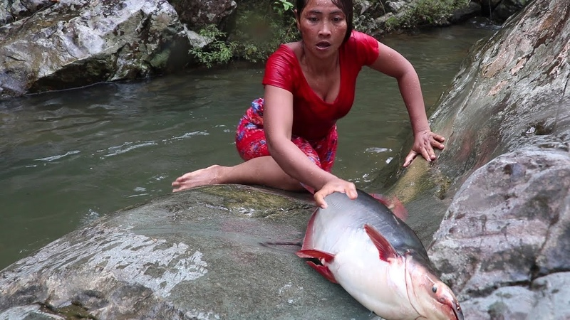 Survival skills: Catch big fish 5 Kg by hand in waterfall - Cooking big fish eating delicious 20