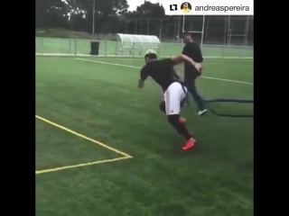 Andreas Pereira working hard before pre-season