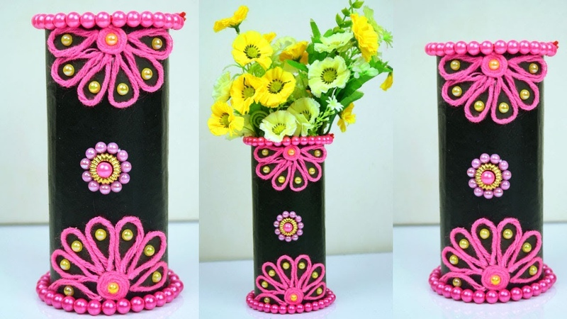 Flower Vase Out Of Waste Plastic Bottle Simple Flower Vase Idea From Bottle and Wool Paper