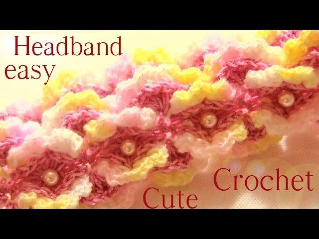 Como tejer diadema con Gancho Crochet en punto de flores en alto relieve - Learn flower Crochet