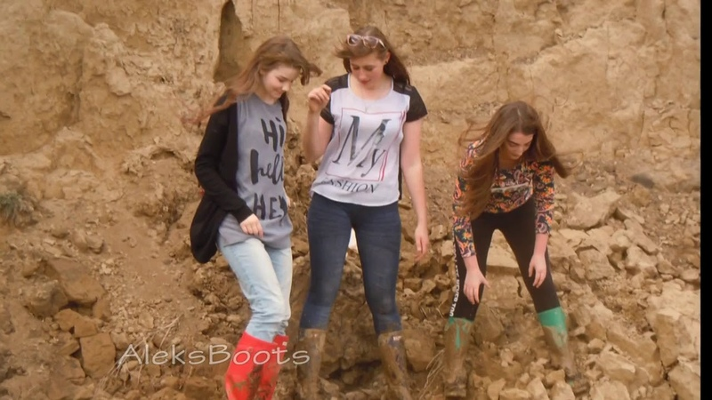 Girls Nastya, Christina and Tanya played in rubber boots in the mud. Part-1(190417)