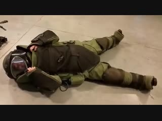 Girl in fiancee's bomb defusal suit (Sound)
