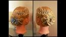 Коса из четырёх прядей с лентой и цветок из косы. Видео-урок.