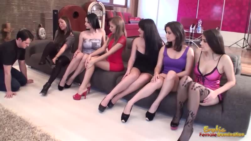 Six Mistresses Get Their Feet Sniffed By Submissive Man