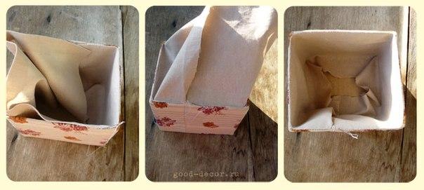 Как украсить картонную коробку своими руками тканью