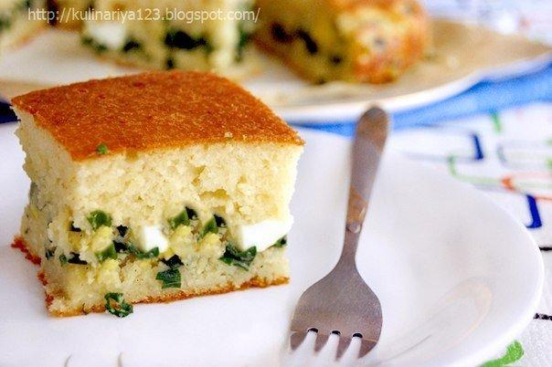 Быстрый заливной пирог с луком и яйцом. Вам