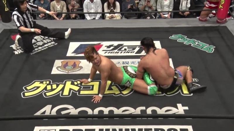 Konosuke Takeshita, Akito, Nobuhiro Shimatani vs. Shigehiro Irie, Kazusada Higuchi and Kouki Iwasaki (DDT - Dramatic Fan Club Vo
