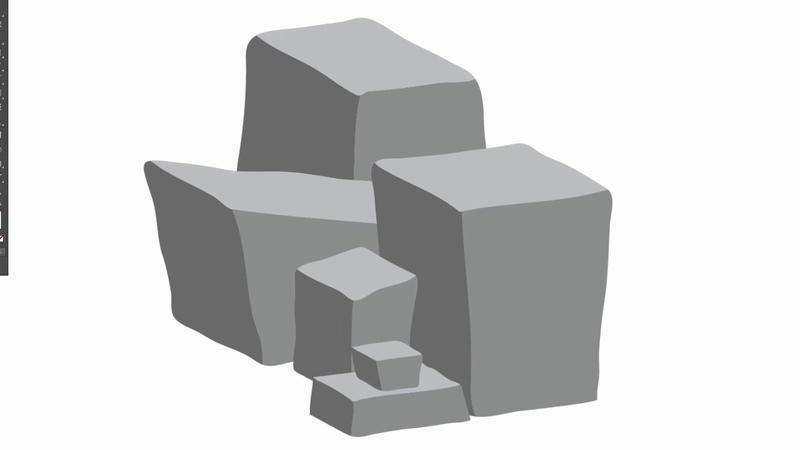 Stone heap - Adobe Illustrator cs6 tutorial. How to create nice vector design