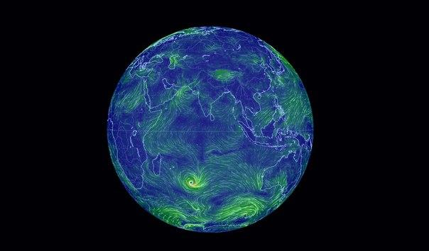 Карта вітрів землі Google Earth