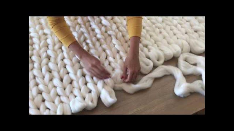 DIY Tutoriel tricoter une couverture XXL avec les mains en laine merinos SuperComfy